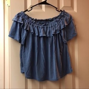 Dusty Blue Off-The Shoulder Top